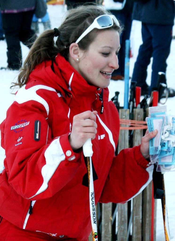 Marion V. monitrice à l'école de ski de Ventron